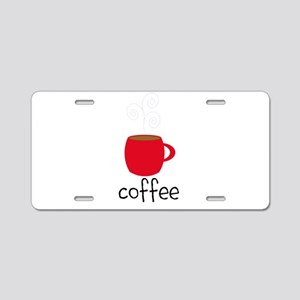 Red Coffee Mug Aluminum License Plate