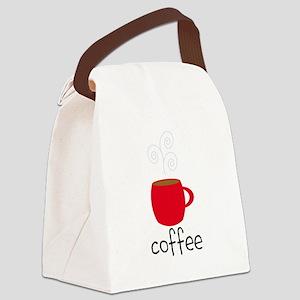 Red Coffee Mug Canvas Lunch Bag