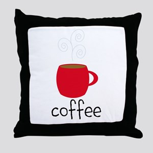 Red Coffee Mug Throw Pillow