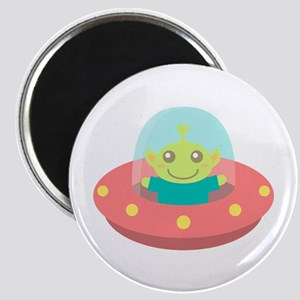 Cute Friendly Alien in Spaceship Magnets
