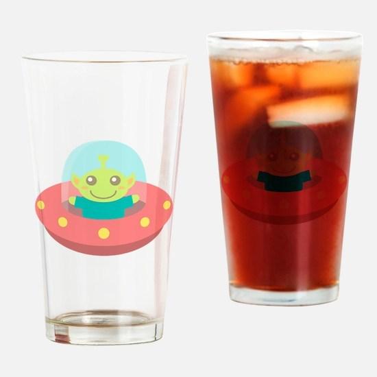 Cute Friendly Alien in Spaceship Drinking Glass