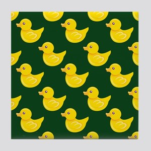 Forest Green and Yellow Rubber Duck, Ducky Tile Co