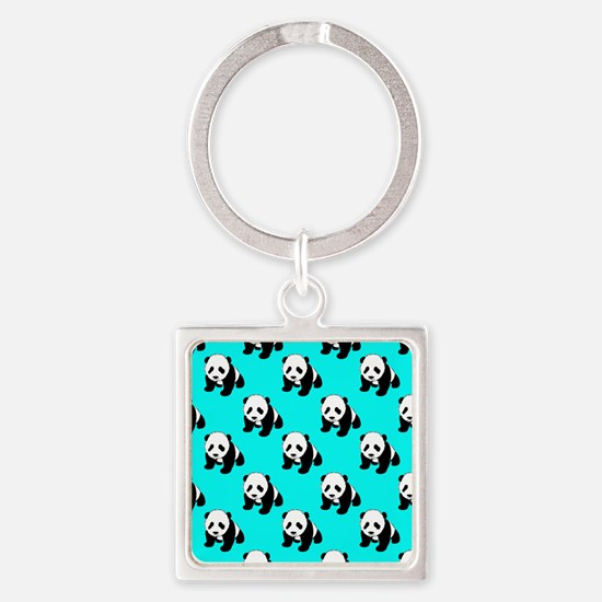 Cute Panda; Neon Turquoise Blue, Black White Keych