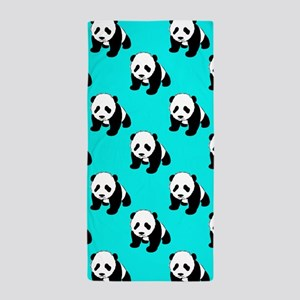 Cute Panda; Neon Turquoise Blue, Black White Beach