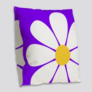 White Yellow Daisy Flower on Violet Purple Burlap