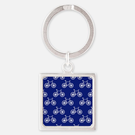 White Bicycle, Cycling Pattern; Dark Blue Keychain