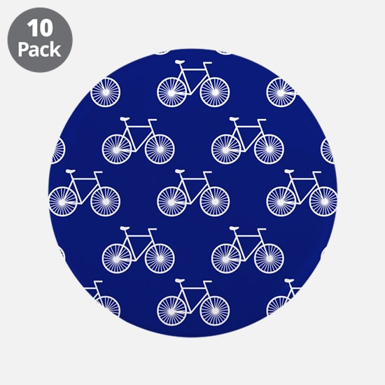 """White Bicycle, Cycling Pattern; Dark Blue 3.5"""" But"""
