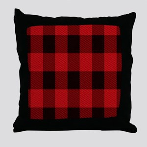 red black plaid Throw Pillow