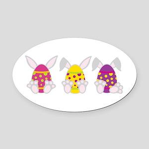Hoppy Easter Oval Car Magnet