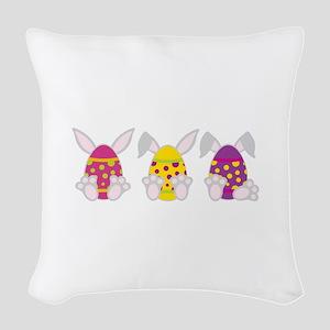 Hoppy Easter Woven Throw Pillow