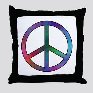 Multicolor Peace Sign Throw Pillow