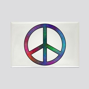 Multicolor Peace Sign Rectangle Magnet