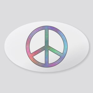 Multicolor Peace Sign Oval Sticker