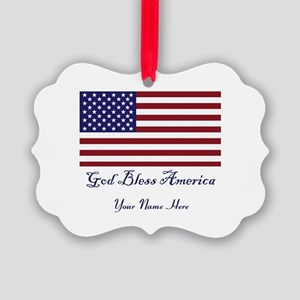 God Bless America Personalize Picture Ornament