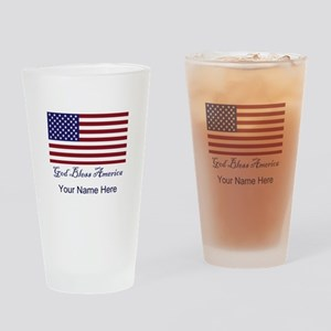God Bless America Personalize Drinking Glass