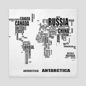 Typography World Map Queen Duvet