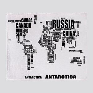 Typography World Map Throw Blanket
