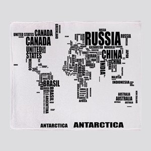 World Map Typography Blankets Cafepress