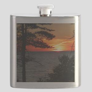 Lake Superior sunset Flask