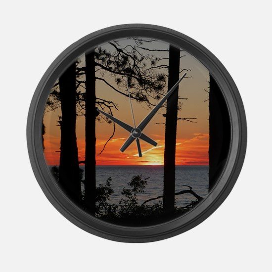 Lake Superior sunset Large Wall Clock