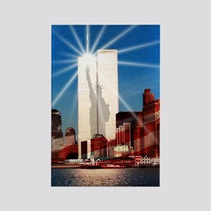 NYC twin towers Rectangle Magnet