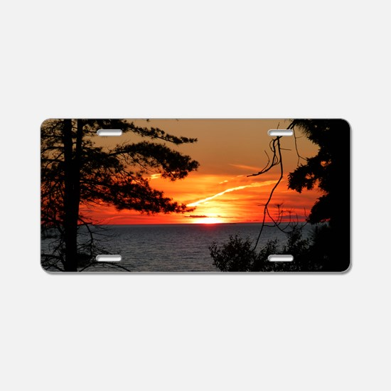 Lake Superior Sunset Aluminum License Plate