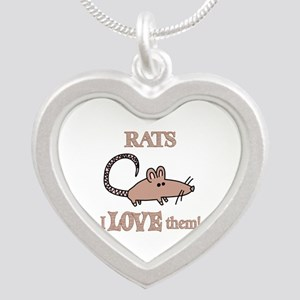 Rats Love Them Silver Heart Necklace