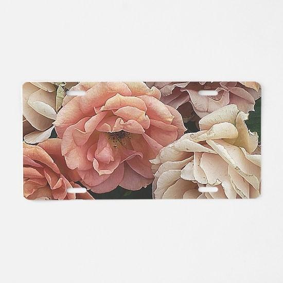 great garden roses, vintage look Aluminum License