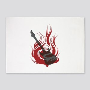 Flaming Guitar 5'x7'Area Rug