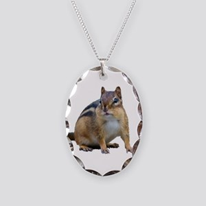 Chipmunk. Necklace Oval Charm