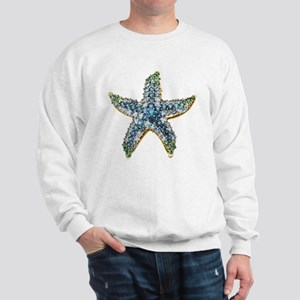 Rhinestone Starfish Costume Jewelry Sap Sweatshirt
