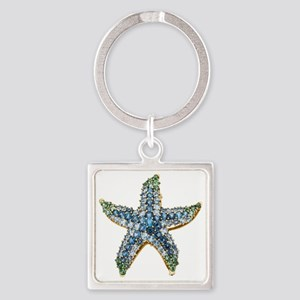 Rhinestone Starfish Costume Jewelr Square Keychain