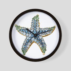 Rhinestone Starfish Costume Jewelry Sap Wall Clock