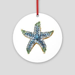 Rhinestone Starfish Costume Jewelry Round Ornament