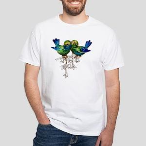 Love Birds Costume Jewelry White T-Shirt