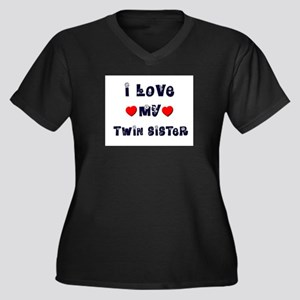I Love MY TWIN SISTER Women's Plus Size V-Neck Dar
