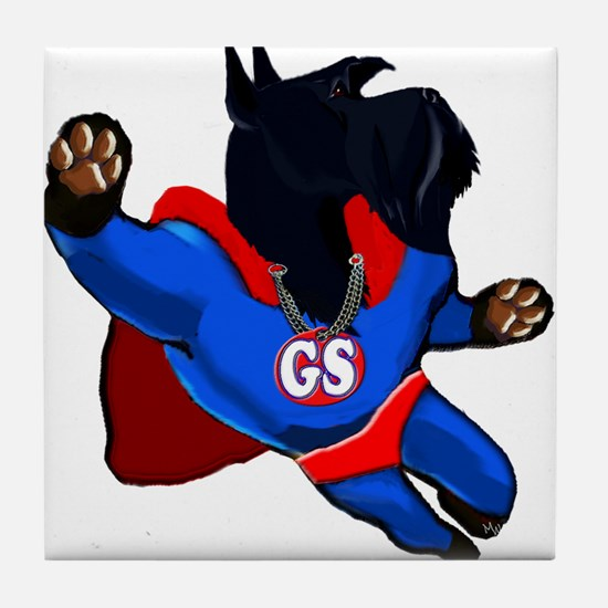 giant schnauzer super hero Tile Coaster