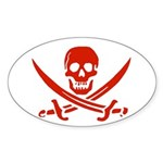 Pirates Red Oval Sticker