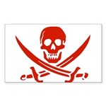 Pirates Red Rectangle Sticker