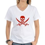 Pirates Red Women's V-Neck T-Shirt