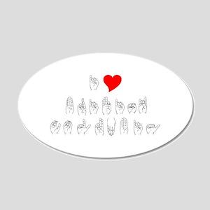 ASL I Heart B.C. 20x12 Oval Wall Decal