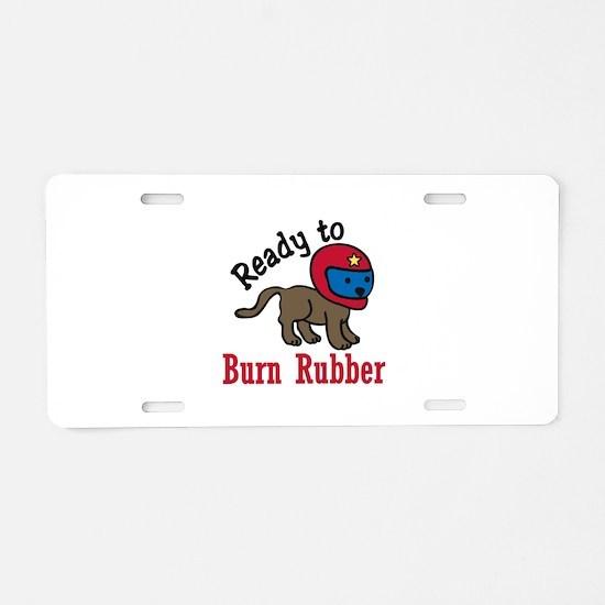 Burn Rubber Aluminum License Plate