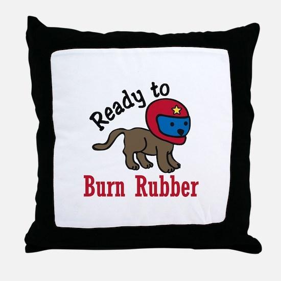 Burn Rubber Throw Pillow