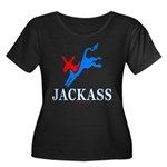 Democrat Jackass Wmns Plus Sz Scoop Neck Dk Tee