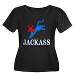 Democrat Jackass Wmns Plus Sz Scoop Neck Dk Tee
