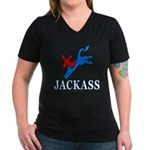 Democrat Jackass Wmns V-Neck Dk Tee