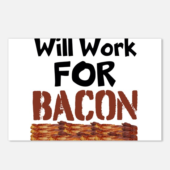 Will Work For Bacon Postcards (Package of 8)