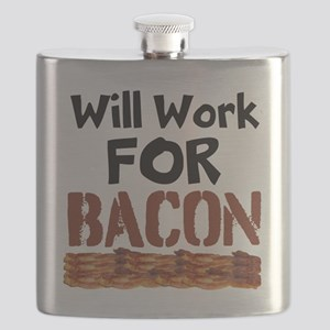 Will Work For Bacon Flask