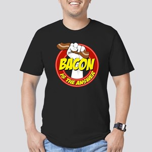 Bacon Is The Answer Men's Fitted T-Shirt (dark)