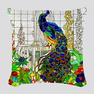 Peacock Stained Glass Window Woven Throw Pillow